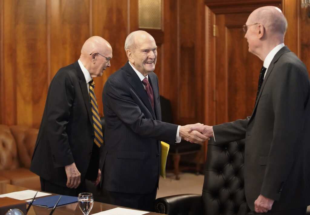 President Russell M. Nelson and his counselors, President Dallin H. Oaks, first counselor, and President Henry B. Eyring, second counselor, attend a First Presidency meeting, held daily Tuesday through Friday, at the Church Administration Building in Salt Lake City on Wednesday, June 16, 2021. The Church Administration Building was constructed between 1913 and 1917.