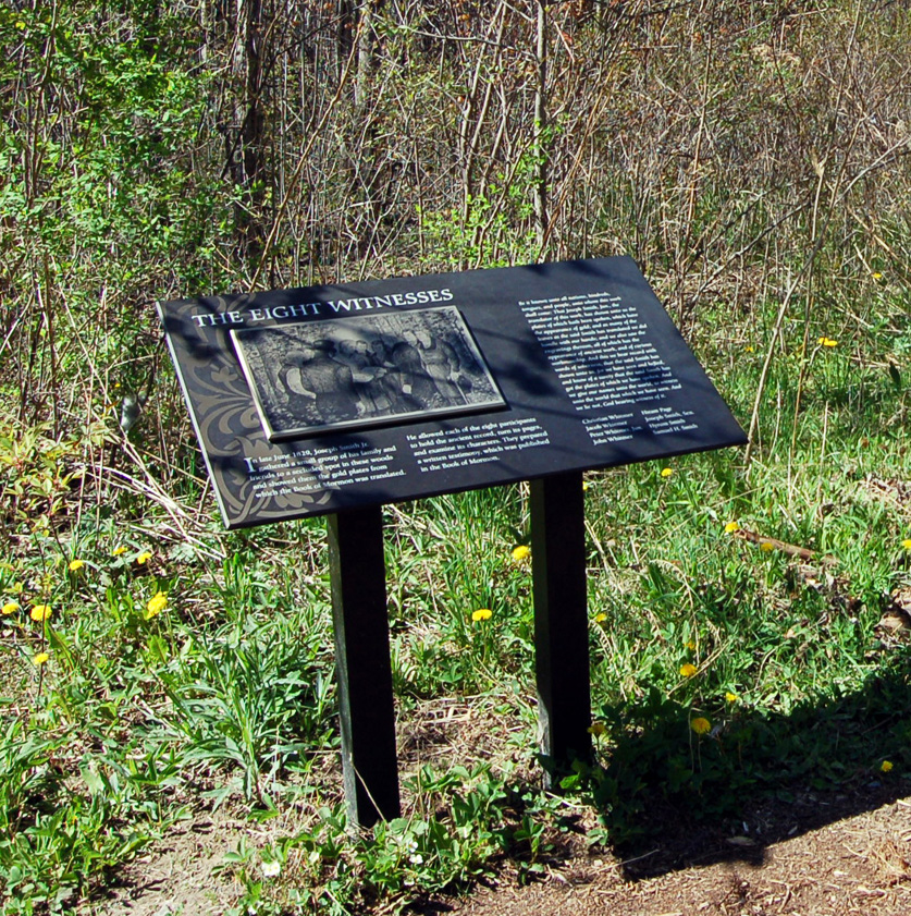 This interpretive panel for the Eight Witnesses is in the Sacred Grove in Palmyra, New York, and shown in 2006.