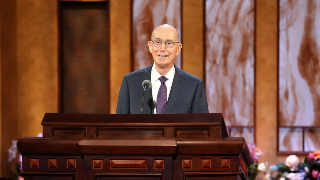 President Henry B. Eyring, second counselor in the First Presidency, speaks during the priesthood session of the 191st Annual General Conference on April 3, 2021.
