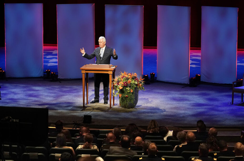 Elder Dieter F. Uchtdorf of the Quorum of the Twelve Apostles speaks at the Church's annual haplains seminar in the Conference Center Theater in Salt Lake City on Tuesday, Oct. 5, 2021.