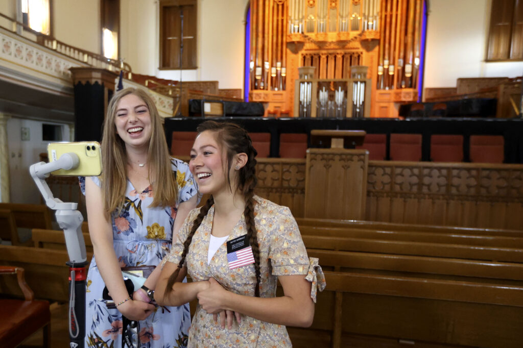 Sister Kate Johnson and Sister DaMinikah Rodriguez give a virtual tour of Assembly Hall in Salt Lake City on Wednesday, April 28, 2021.