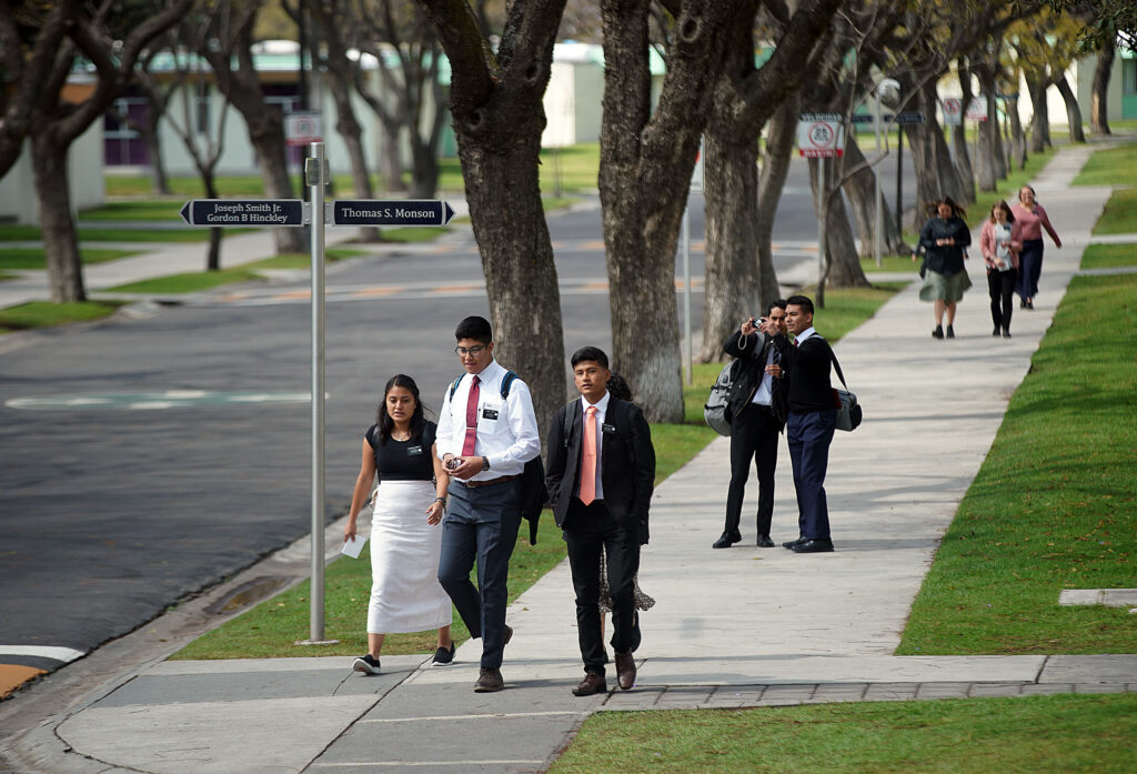 Missionaries walk to lunch at the Mexico Missionary Training Center of The Church of Jesus Christ of Latter-day Saints on Saturday, Jan. 25, 2020.