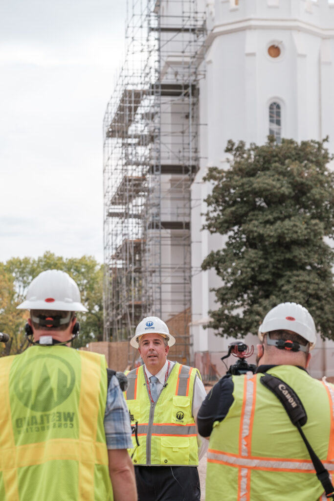 Andy Kirby, director of historic temple renovations for The Church of Jesus Christ of Latter-day Saints, talks to members of the media outside the St. George Utah Temple on Friday, Nov. 6, 2020, in St. George. The historic temple is undergoing renovations that are expected to be completed in 2022.