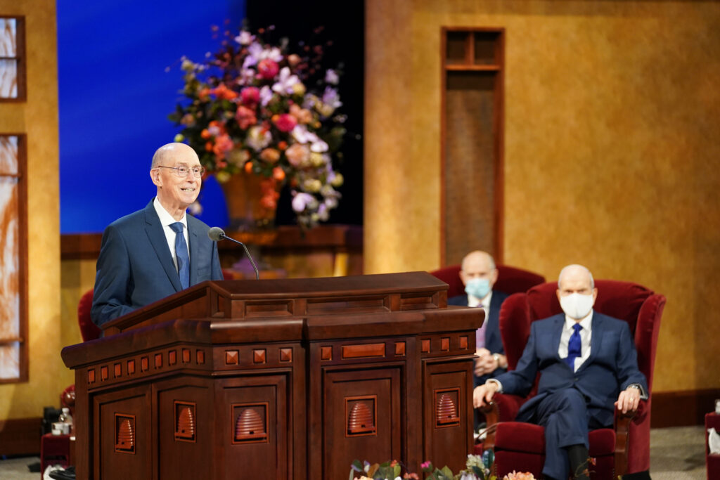 President Henry B. Eyring, second counselor in the First Presidency, conducts the Sunday afternoon session of the 191st Annual General Conference of The Church of Jesus Christ of Latter-day Saints in Salt Lake City on April 4, 2021.