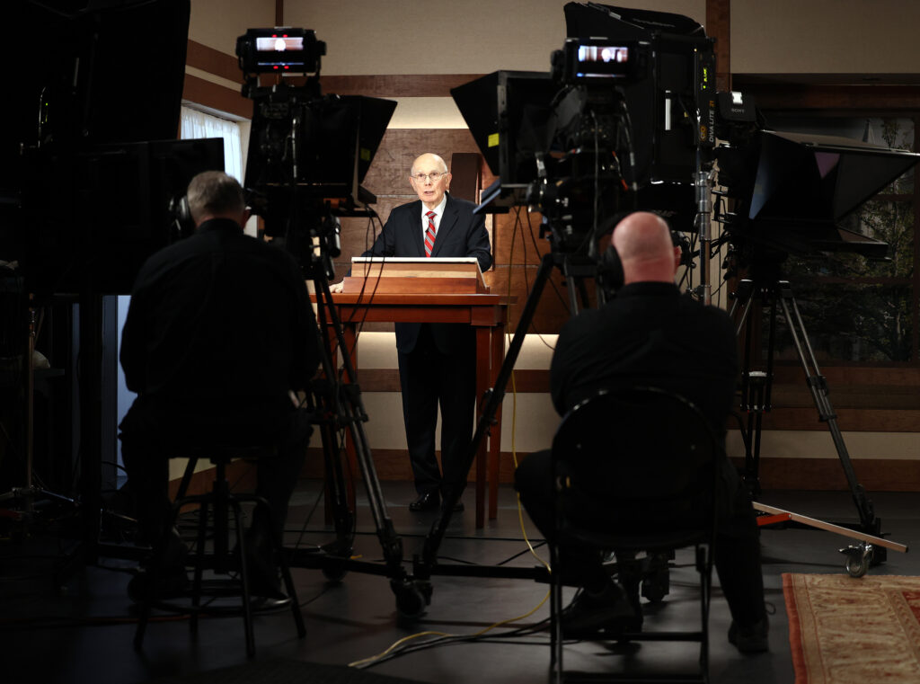President Dallin H. Oaks of the First Presidency of The Church of Jesus Christ of Latter-day Saints gives a talk as part of the recording of a March 14 Spanish-language young adult devotional that was taped at the Church Office Building in Salt Lake City on Friday, Feb. 26, 2021.