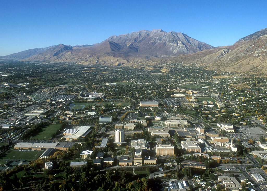 Aerials of the BYU campus, shot in October 1999.