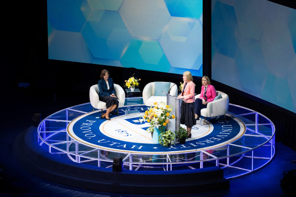 "Primary General President Camille N. Johnson speaks on ""practicing perfection"" during her remarks at BYU Women's Conference on April 29, 2021. The conference was live streamed from the Marriott Center in Provo, Utah."
