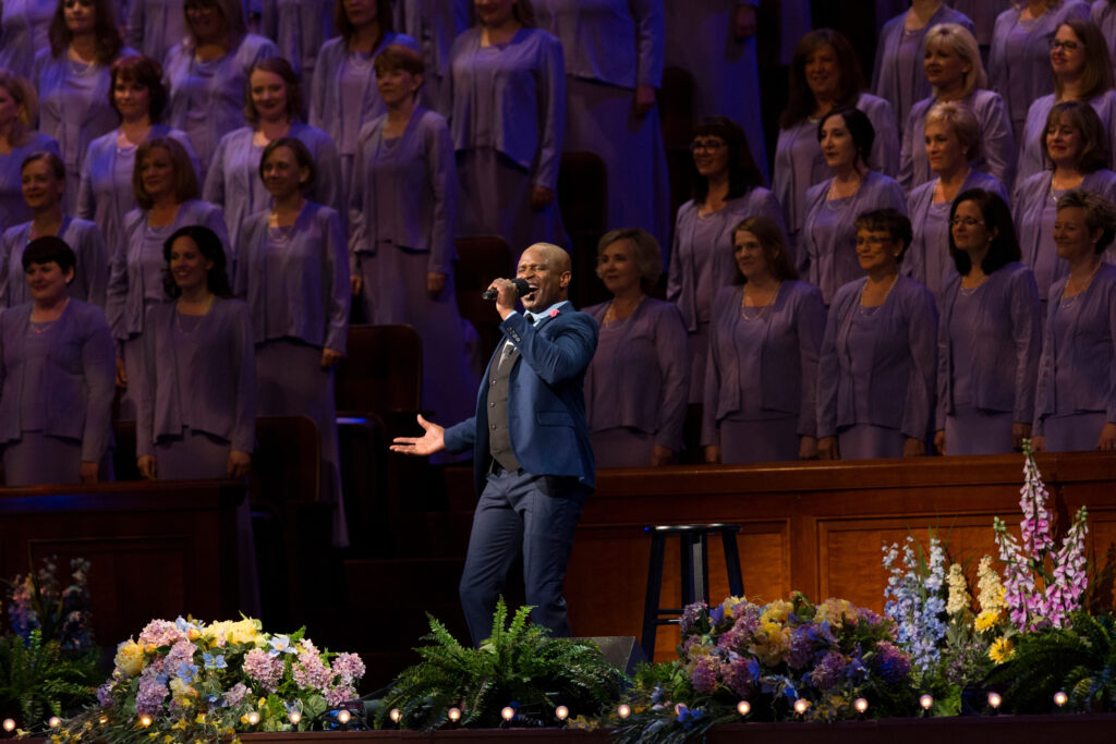 Alex Boyé and the Tabernacle Choir perform at the Conference Center in Salt Lake City on Friday, July 14, 2017.