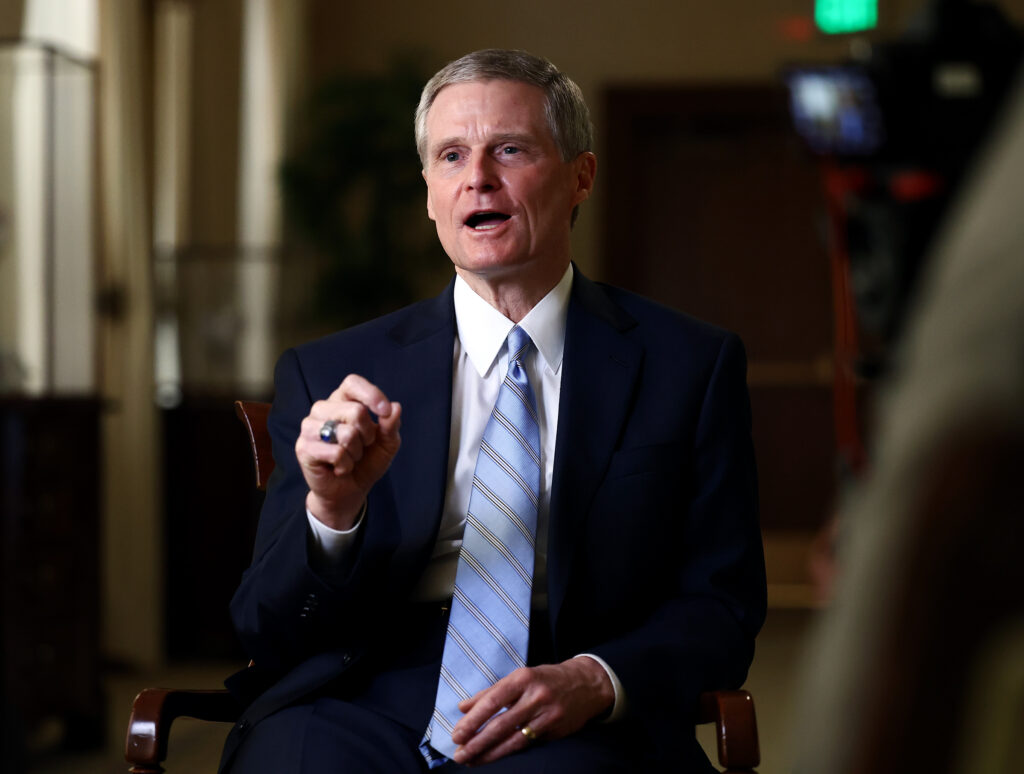 Elder David A. Bednar of the Quorum of the Twelve Apostles of The Church of Jesus Christ of Latter-day Saints sits down for an interview at the Relief Society building on Temple in Salt Lake City on Tuesday, Feb. 2, 2021.