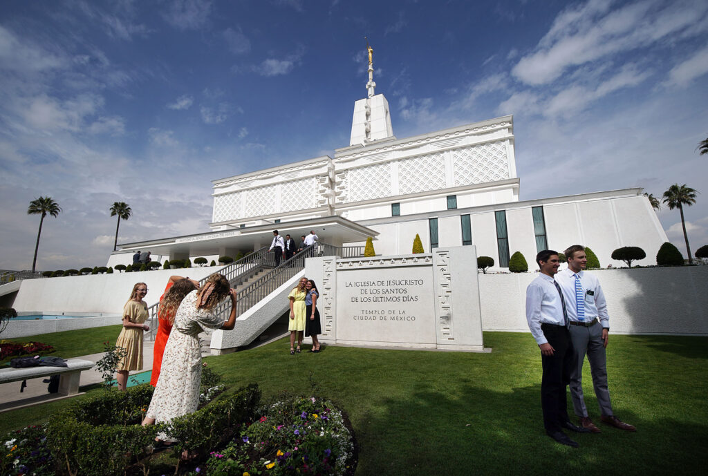 Missionaries visit the Mexico City MexicoTemple of The Church of Jesus Christ of Latter-day Saints on Friday, Jan. 24, 2020.