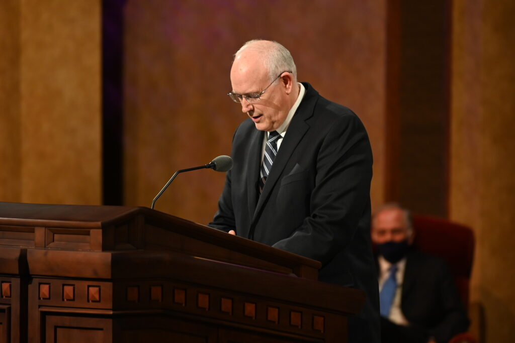 Elder Paul V. Johnson, General Authority Seventy, gives the opening prayer for the Sunday afternoon session of the 190th Semiannual General Conference of The Church of Jesus Christ of Latter-day Saints on Oct. 4, 2020.