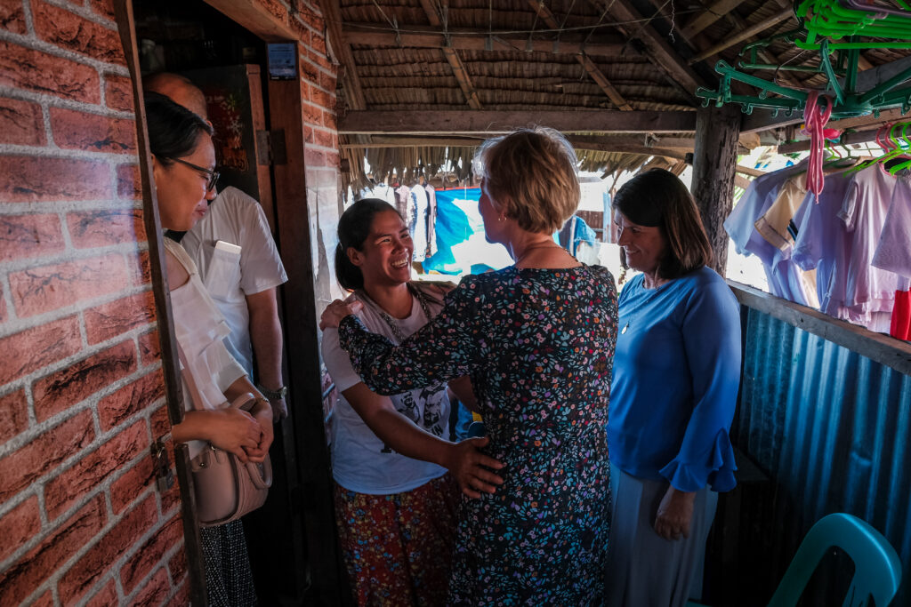Sister Jean B. Bingham visits with Michelle Artigas at her home in Catarman, Philippines, on Feb. 3, 2020. Sister Bingham visited the area to learn of a stake pilot project focused on malnutrition.