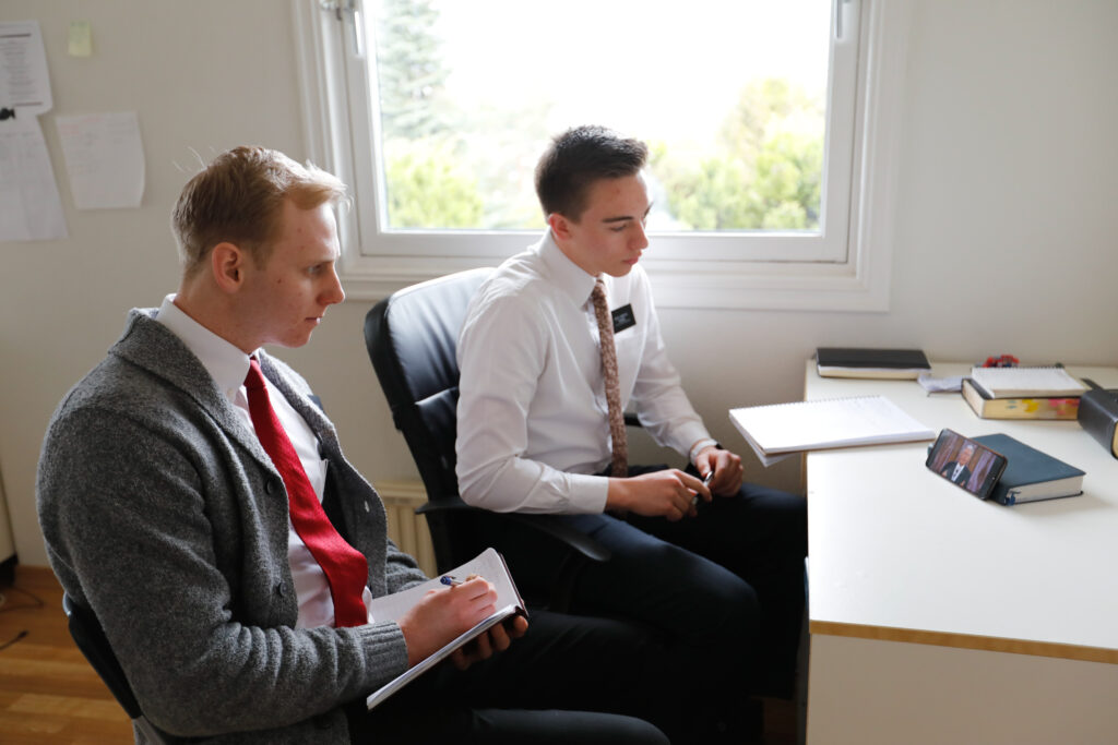 Missionaries in Oslo, Norway, participate in a session of The Church of Jesus Christ of Latter-day Saints' 191st Annual General Conference, broadcast on Saturday, April 3, and Sunday, April 4, 2021.