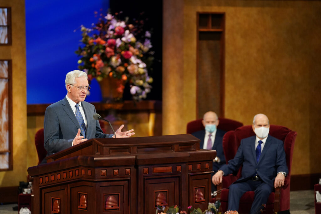 Elder D. Todd Christofferson, of the Quorum of the Twelve Apostles, speaks during the Sunday afternoon session of the 191st Annual General Conference of The Church of Jesus Christ of Latter-day Saints in Salt Lake City on April 4, 2021.