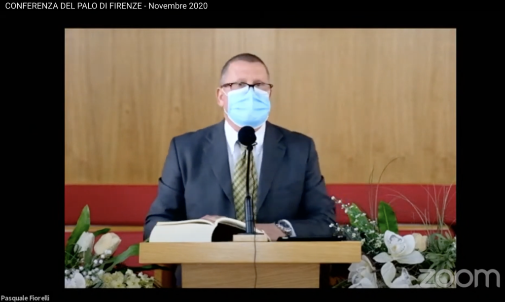 President Paquale Florelli, president of the Florence Italy Stake, speaks during a November 2020 virtual stake conference broadcast.