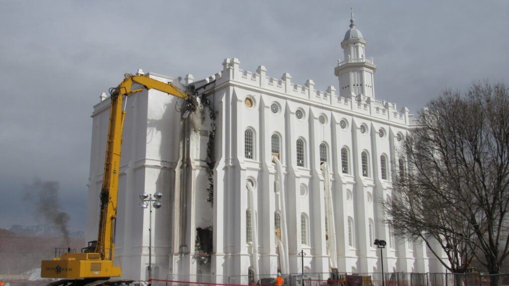 Removal of the west end of the St. George Utah Temple, which was added in the 1970s to accommodate an elevator, begins on Jan. 20, 2020, in St. George, Utah. The temple renovation is projected to be completed in 2022.