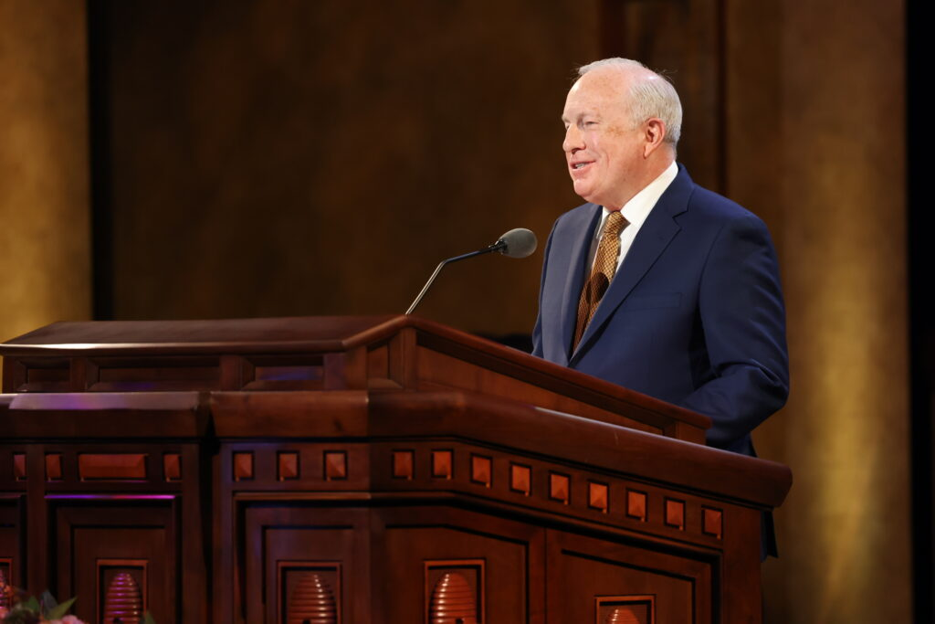 Elder Timothy J. Dyches, General Authority Seventy, speaks during the Sunday afternoon session of the 191st Annual General Conference of The Church of Jesus Christ of Latter-day Saints on April 4, 2021.