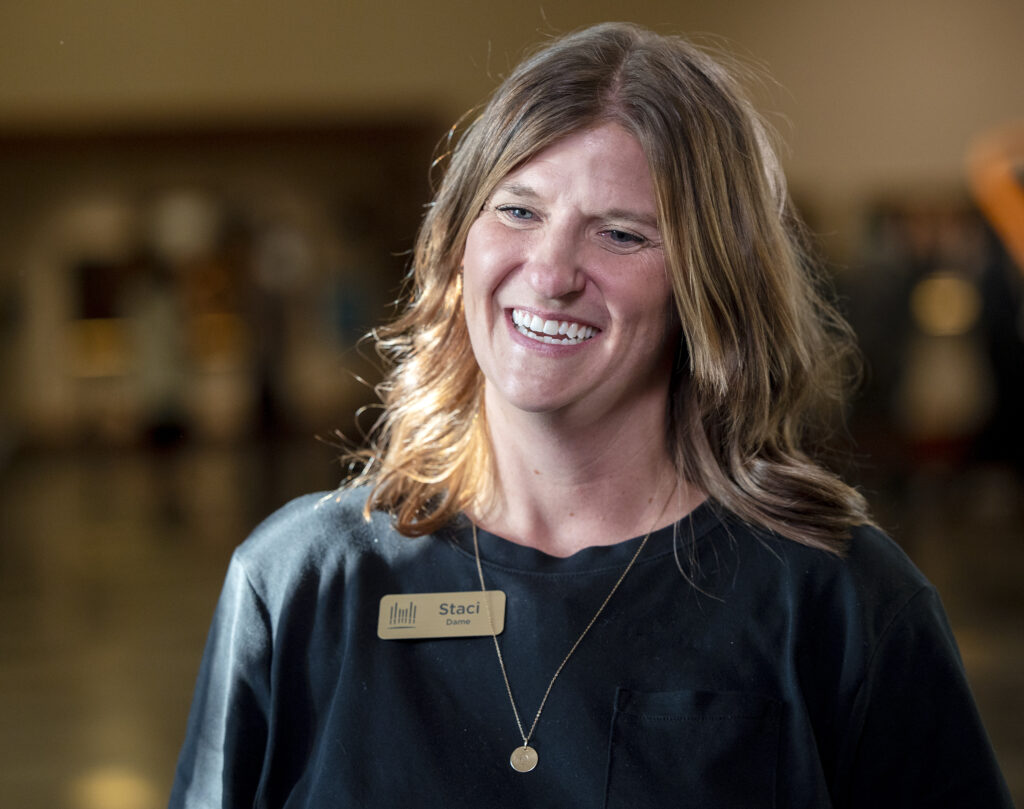 Tabernacle Choir member Staci Dame talks about how it feels to resume rehearsals after more than 18 months while at the Conference Center in Salt Lake City on Tuesday, Sept. 21, 2021.