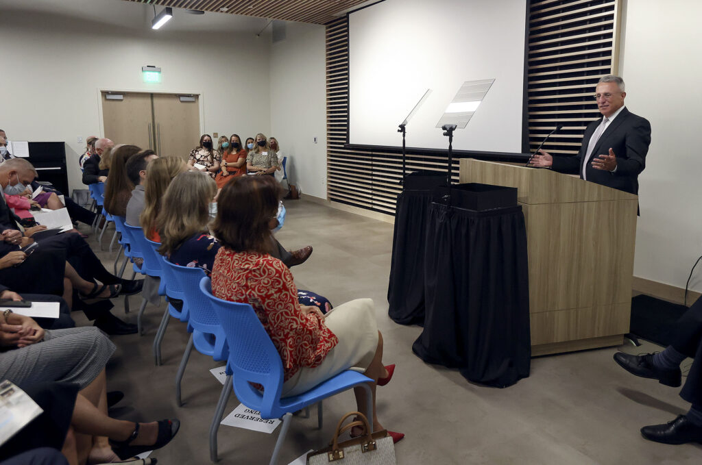 Elder Ulisses Soares of the Quorum of the Twelve Apostles speaks at the dedication ceremony for the Mesa Arizona Temple Visitors' Center in Mesa, Ariz., on Thursday, Aug. 12, 2021.