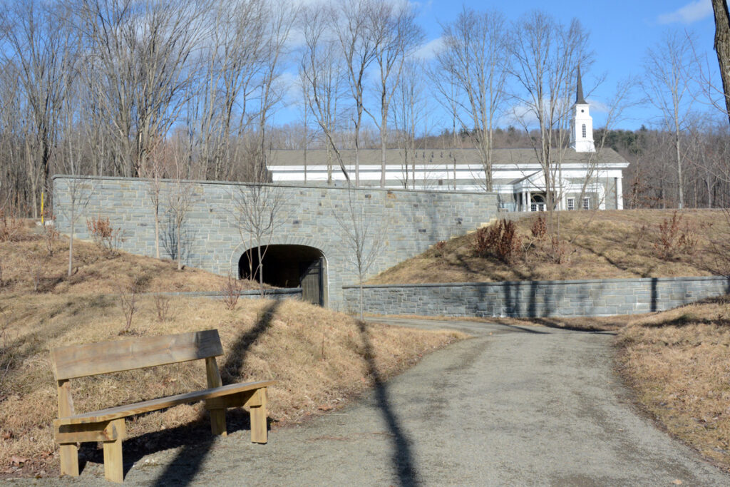 This tunnel, shown in 2019, connects the visitors' center and the restored homes of Issac and Elizabeth Hale and Joseph and Emma Smithat the Priesthood Restoration Site in Oakland Township, Susquehanna, Pennsylvania.