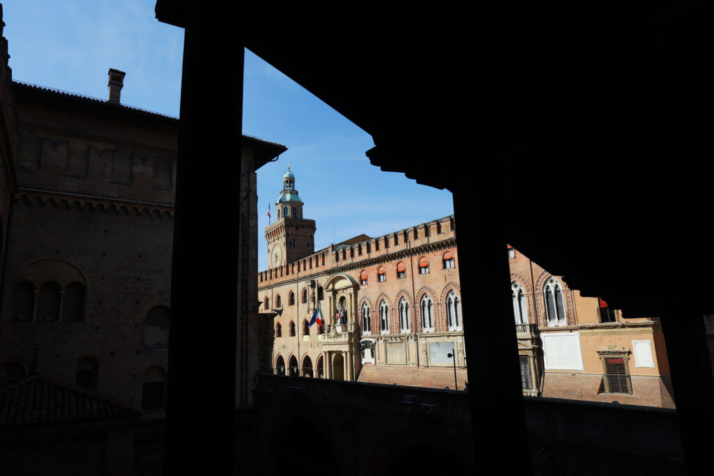 The Torre dell' Orologio clock tower as seen from the G20 Interfaith Forum in Bologna, Italy on Monday, Sept. 13, 2021.