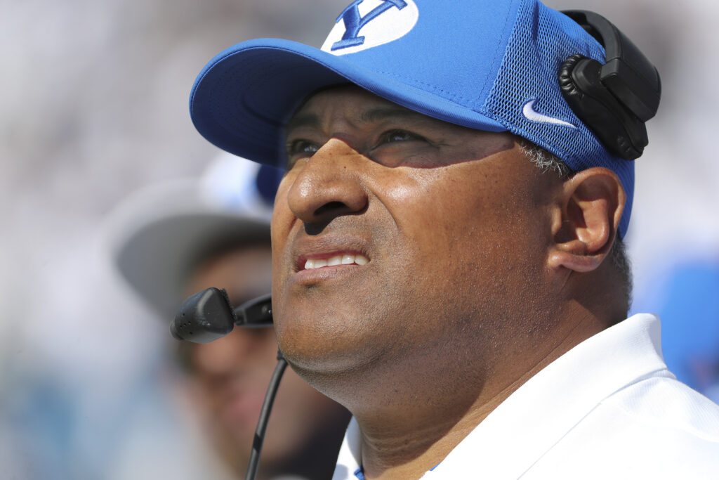 Brigham Young University head football coach Kalani Sitake watches a kickoff in Provo on Saturday, Sept. 21, 2019.