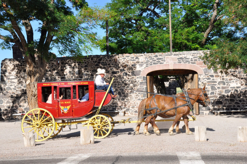 A ride in a stagecoach was one of the events at the Cove Fort Days on Aug. 6 and 7, 2010, at the Cover Fort Historic Site. More than 4,600 visitors came to the fort. (Photo by Elder Theo Endrizzi) (Submission date: 08/19/2010)