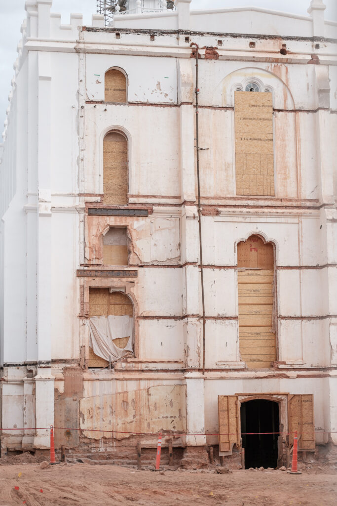 The west side of the St. George Utah Temple of The Church of Jesus Christ of Latter-day Saints is seen on Friday, Nov. 6, 2020, in St. George, revealing parts of the exterior that have been covered since an earlier renovation in the 1970s. The current renovation is expected to be completed in 2022.