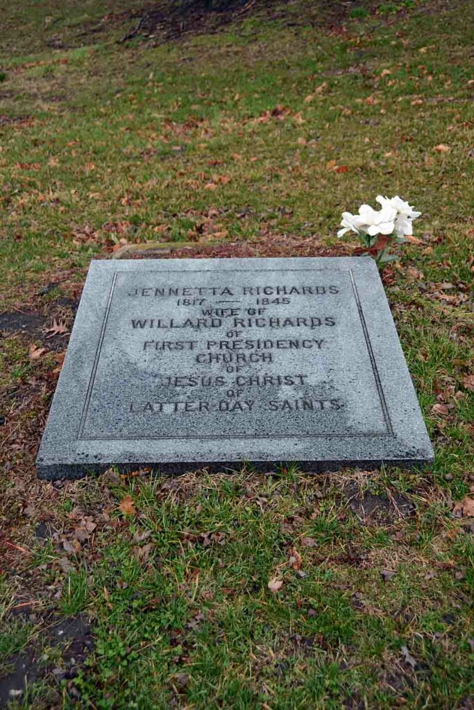 The grave of Jennetta Richards Richards in Nauvoo, Illinois. Jennetta Richards was baptized in the River Ribble in England and confirmed at the waters' edge. It's believed that Jennetta is the first person confirmed a member of the Church in Great Britain.