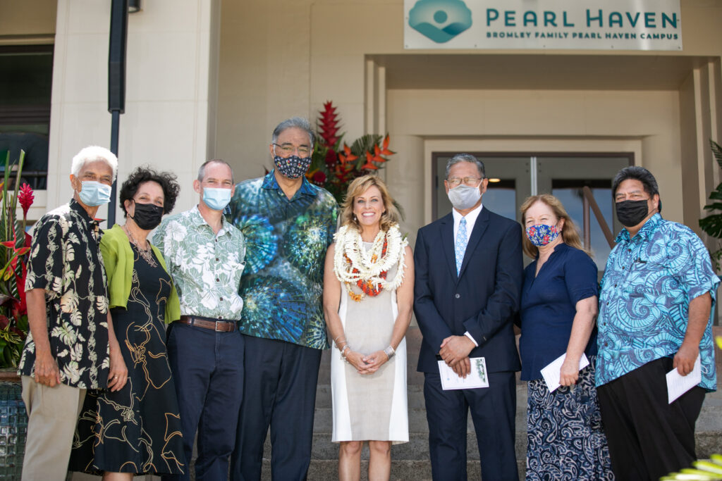 A visit to the Bromley Family Pearl Haven Campus in Hawaii, April 2021. Pictured left to right: Wailana Kamauu, coordinating councils communication director; Kathy Kamauu, coordinating councils JustServe specialist; Kevin Schlag, Laie Hawaii North Stake president; Mufi Hannemann, coordinating councils communication media specialist; Jessica Muñoz, Ho'ōla Nā Pua president; Elder Voi Taeoalii, Area Seventy; Sister Ronette Taeoalii; and Vonn Logan, Welfare and Self-Reliance Services manager.