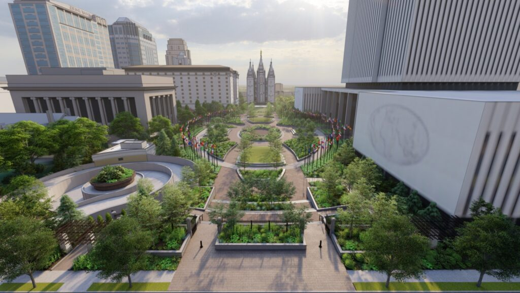 A rendering shows the renovated Church Office Building Plaza, looking west toward the Salt Lake Temple. Renovation on the plaza begins January 2021.