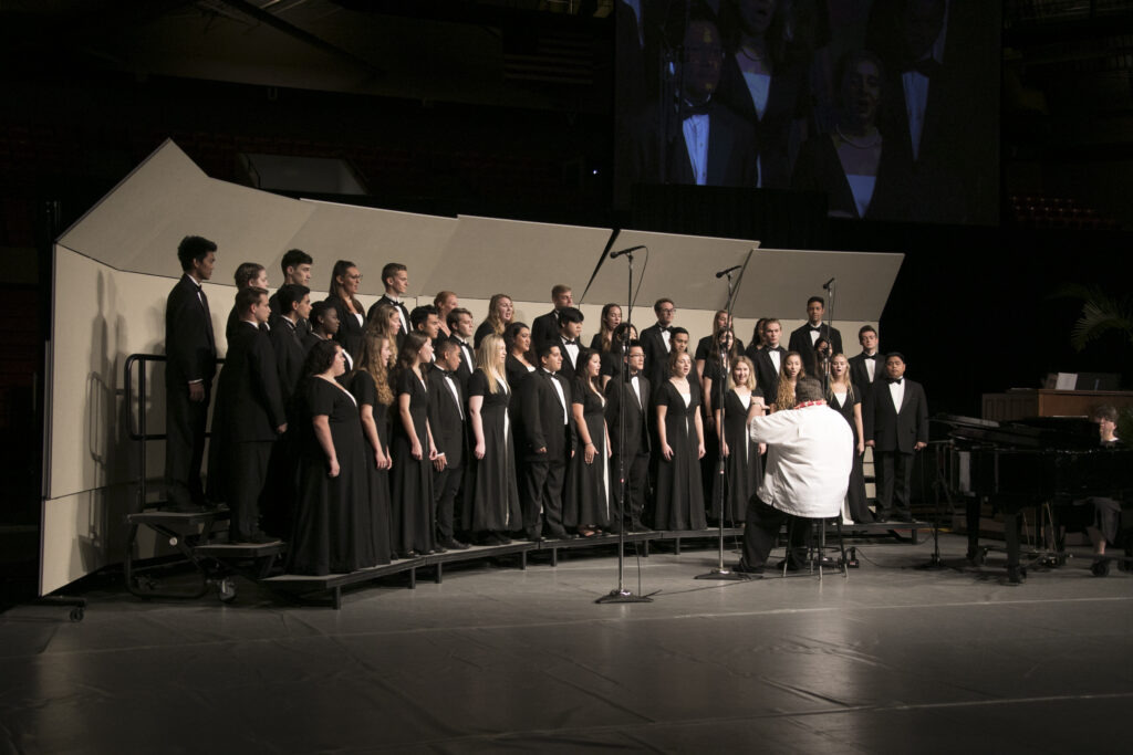 A student choir sings at a Brigham Young University–Hawaii devotional on campus in Laie, Hawaii, on Tuesday, Feb. 18, 2020.
