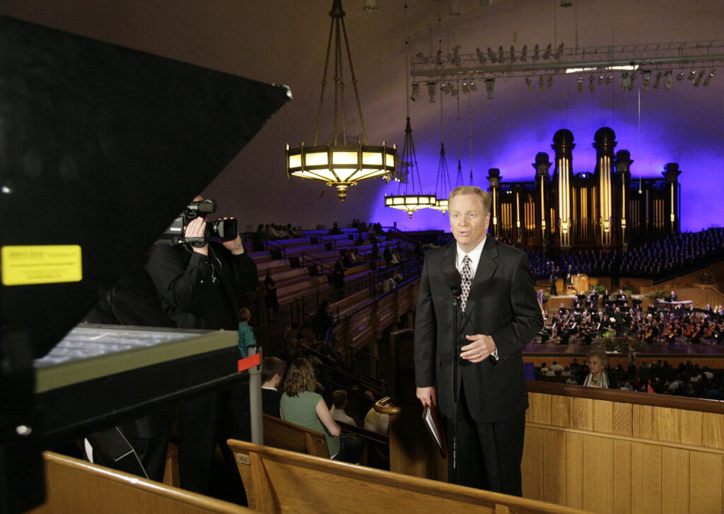 """Lloyd Newell practices with The Tabernacle Choir at Temple Square for a """"Music & the Spoken Word"""" broadcast at the Tabernacle in Salt Lake City on Oct. 17, 2010."""