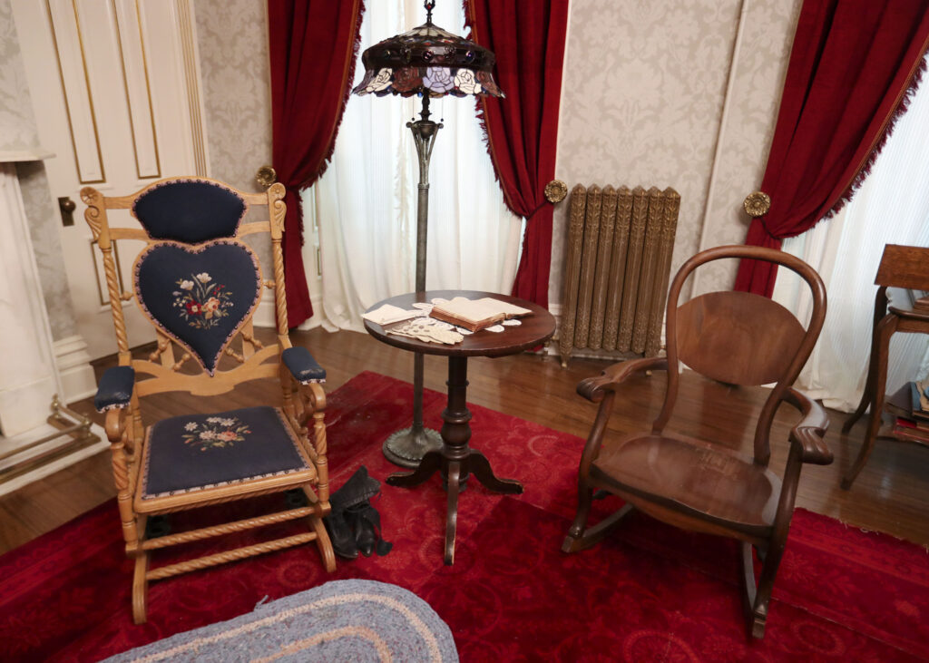 Rocking chairs are pictured inside a bedroom that has been refurbished to reflect Joseph F. Smith's bedroom in 1918 in the Beehive House in Salt Lake City on Wednesday, Sept. 22, 2021.