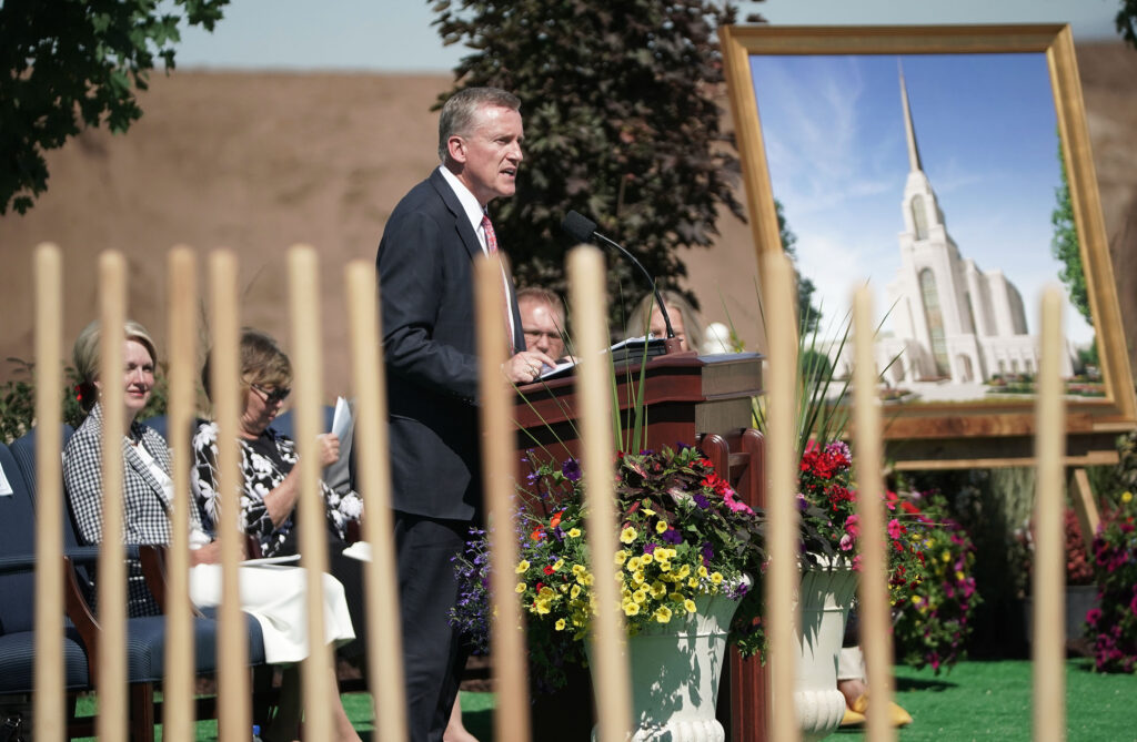 Elder Kevin R. Duncan, a General Authority Seventy, speaks during groundbreaking for the Syracuse Utah Temple of The Church of Jesus Christ of Latter-day Saints in Syracuse on Saturday, June 12, 2021.