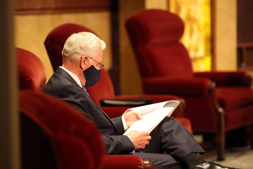 Elder D. Todd Christofferson, a member of the Quorum of the Twelve Apostles, gets ready to speak during the Saturday afternoon session of the 190th Semiannual General Conference of The Church of Jesus Christ of Latter-day Saints on Oct. 3, 2020.