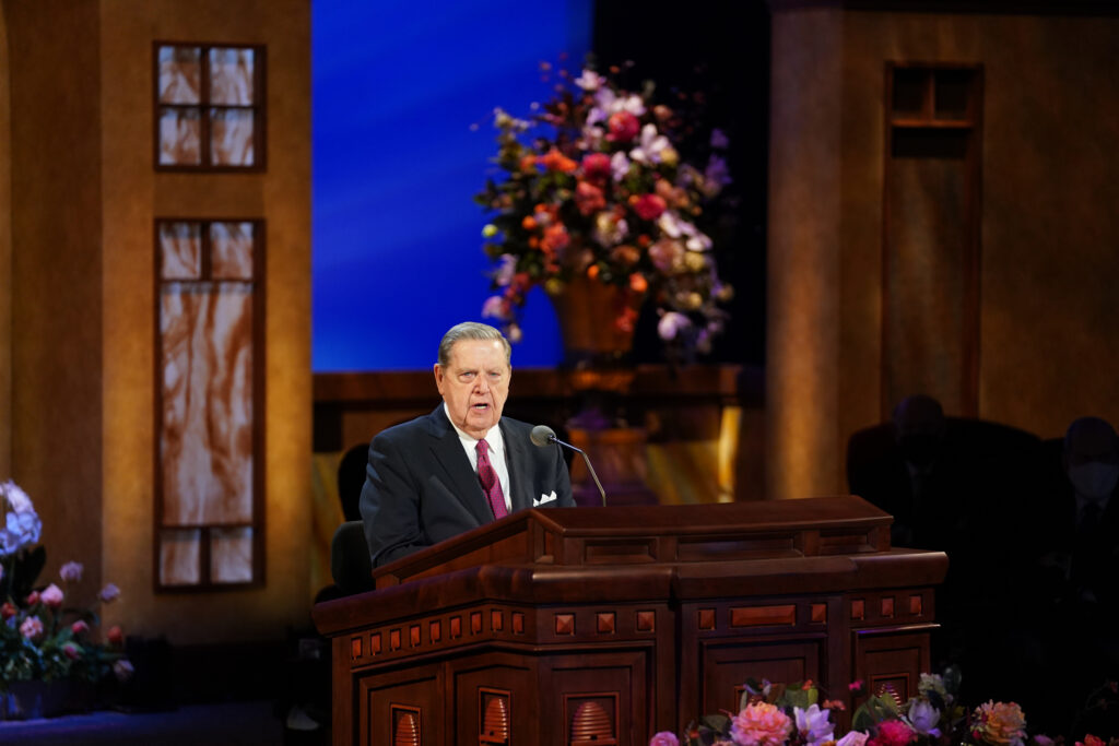 Elder Jeffrey R. Holland of the Quorum of the Twelve Apostles speaks during the Saturday afternoon session of the 191st Annual General Conference on April 3, 2021.