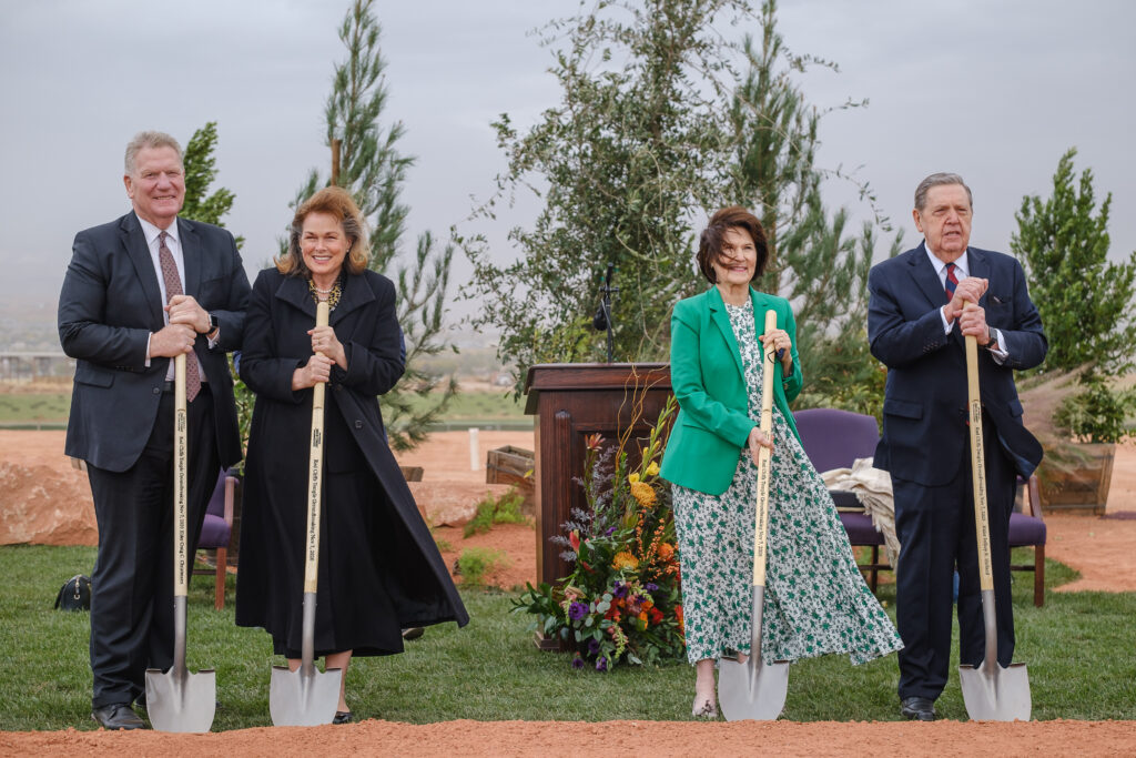Elder Craig C. Christensen, from left, Utah Area President for The Church of Jesus Christ of Latter-day Saints, Sister Debbie Christensen, Sister Patricia Holland, and Elder Jeffrey R. Holland, Quorum of the Twelve, pose with shovels at the groundbreaking service for the Red Cliffs Utah Temple in St. George, Utah, Saturday, November 7, 2020.