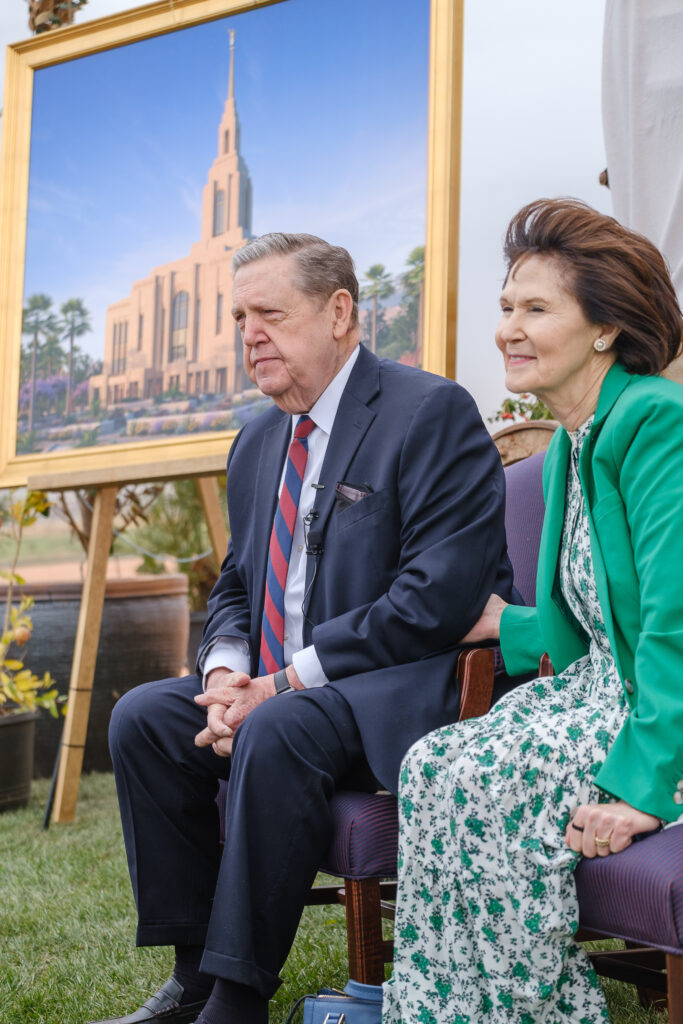 Elder Jeffrey R. Holland, Quorum of the Twelve of The Church of Jesus Christ of Latter-day Saints, and Sister Patricia Holland speak to the media following the groundbreaking service for the Red Cliffs Utah Temple in St. George, Utah, Saturday, November 7, 2020.