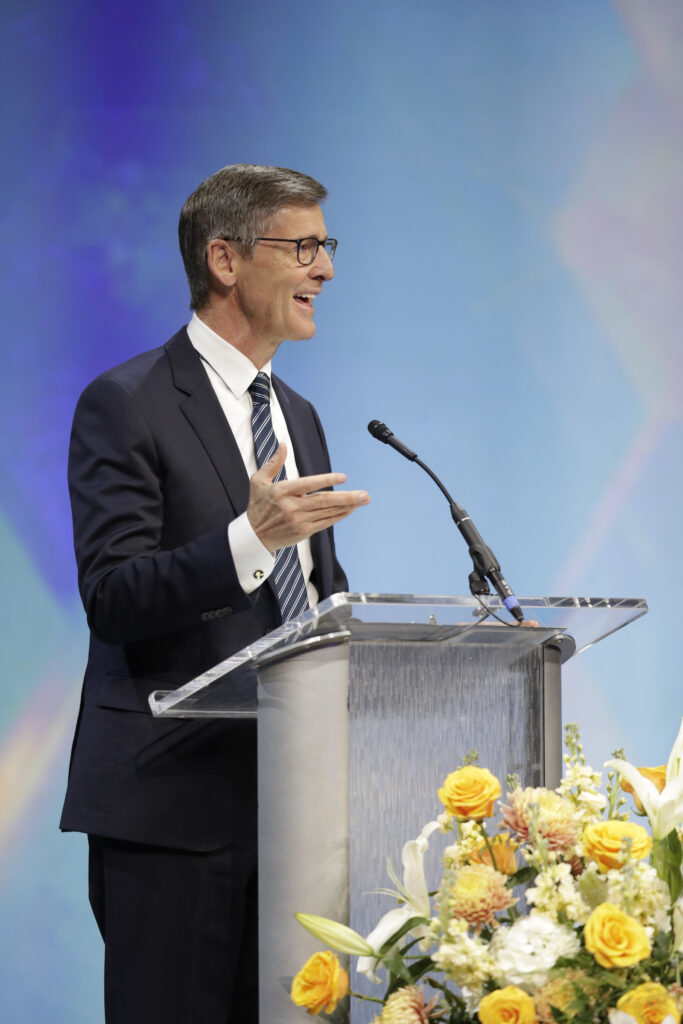 Young Men General President Steven J. Lund speaks during BYU Women's Conference on April 29, 2021, at the Marriott Center in Provo, Utah.