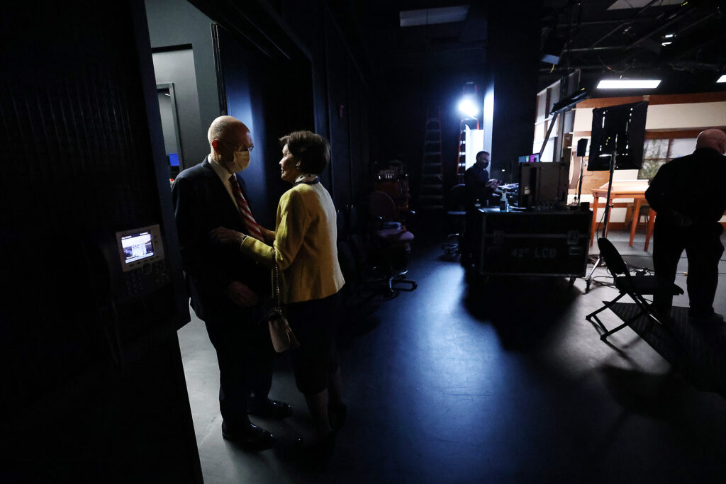 President Dallin H. Oaks of the First Presidency of The Church of Jesus Christ of Latter-day Saints, and his wife, Sister Kristen Oaks, talk in the doorway of the studio prior to recording a March 14 Spanish-language young adult devotional that was taped at the Church Office Building in Salt Lake City on Friday, Feb. 26, 2021.